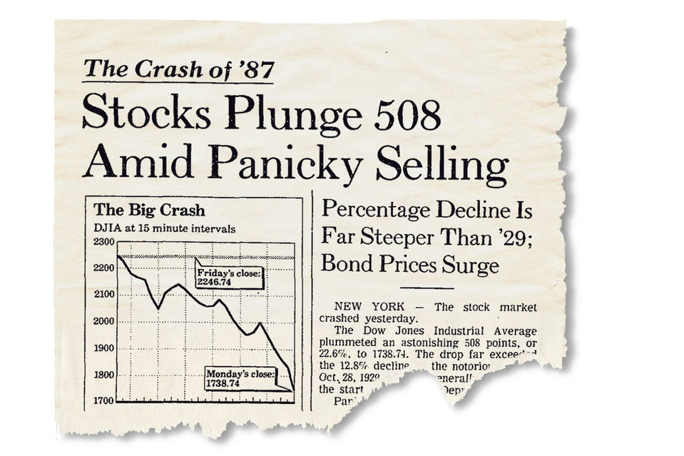 The Crash of '87. Stocks Plunge 508 Amid Panicky Selling